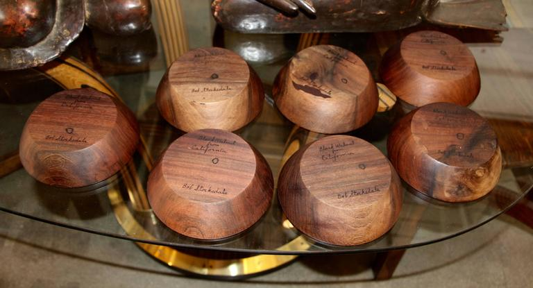 Seven Bob Stocksdale Black Walnut Hand-Turned Bowls In Good Condition For Sale In Palm Springs, CA