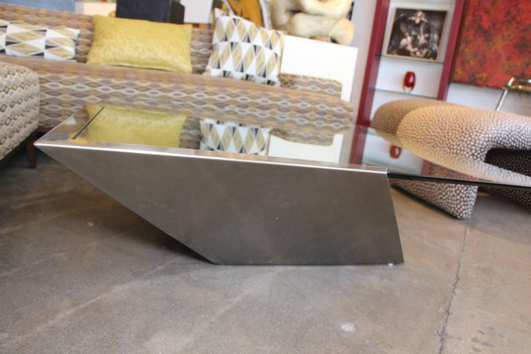 Brueton J Wade Beam Cantilevered Brushed Stainless Steel Coffee Table For Sale At 1stdibs