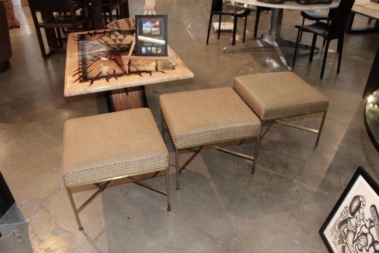 Paul McCobb for Directional Set of Three Brass Ottomans with Original Fabric 2