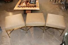 Paul McCobb for Directional Set of Three Brass Ottomans with Original Fabric