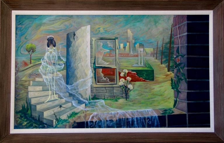 A wonderful surrealist Mid-Century painting by the noted Dutch/American artist Artist Cees Brokke. It it's original frame, we did have to have the linen liner replaced. From an old ny times article is this blurb about the artist Several miles away,