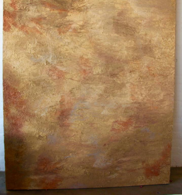 A large massive abstract with thick impasto paint. Beautiful tonal abstract. Please note the size of this piece, as it is quite large 9 feet tall and 6 feet wide. Unsigned. It can be hung vertically or horizontally.