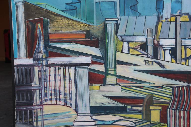 American Louise Odes Neaderland Architectural Painting City, 1964 For Sale