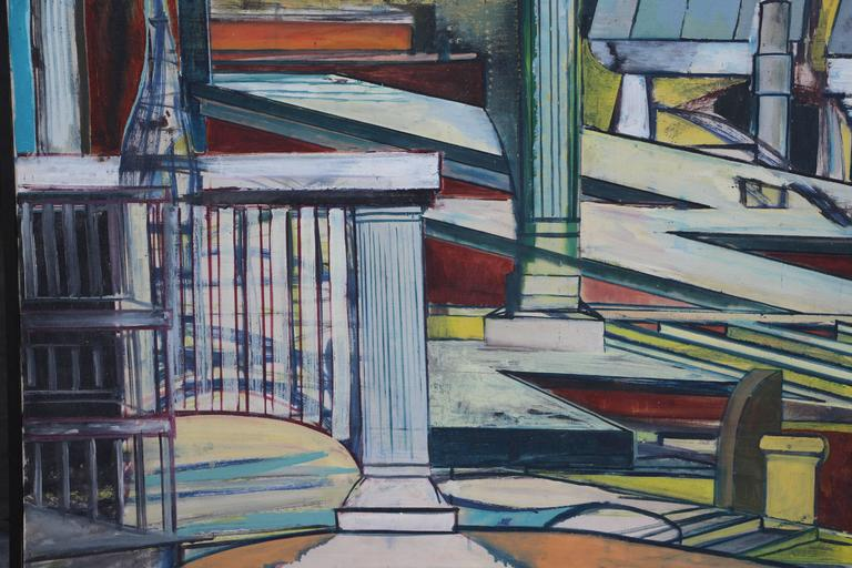 Louise Odes Neaderland Architectural Painting City, 1964 In Good Condition For Sale In Palm Springs, CA