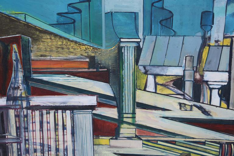 Mid-20th Century Louise Odes Neaderland Architectural Painting City, 1964 For Sale