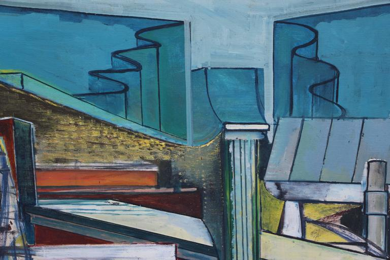 Louise Odes Neaderland Architectural Painting City, 1964 For Sale 2