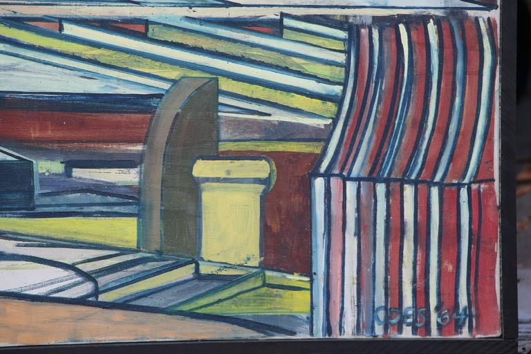 A great architectural themed oil on canvas by the noted artist Louise Odes Neaderland (b 1932). This oil is signed and dated 1964. It is out of an estate collection of her work that has not been seen since the early 1970's where they have been in