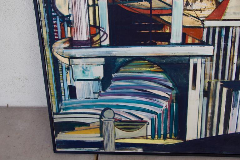 Mid-20th Century Louise Odes Neaderland Architectural Painting Columns, 1964 For Sale