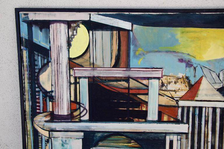 Louise Odes Neaderland Architectural Painting Columns, 1964 For Sale 2