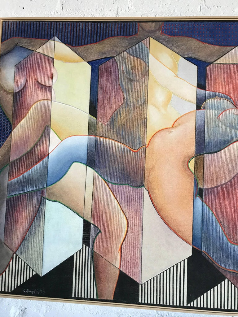 Late 20th Century George Dergalis 1993 Painting on Linen of Three Nude Woman For Sale