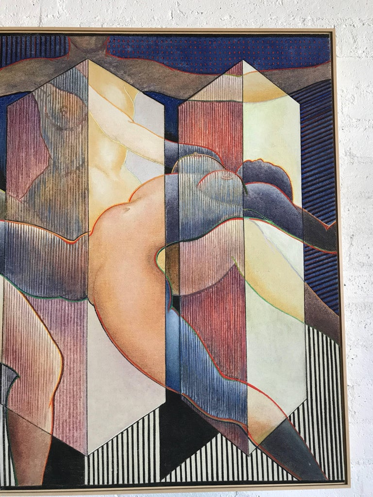 George Dergalis 1993 Painting on Linen of Three Nude Woman For Sale 1