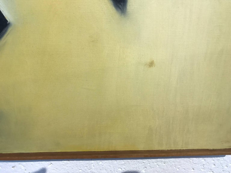 A nice brownish hued abstract painting by the noted artist Arnold Weber (1931-2010). The abstract is in a strip frame which has marks scratches and some minor losses. It is signed and dated 1966 on the bottom. There is a mark to the yellow area,