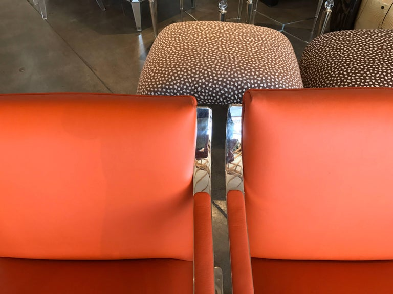 pair of 1970s brueton stainless steel chairs redone in hermes toned