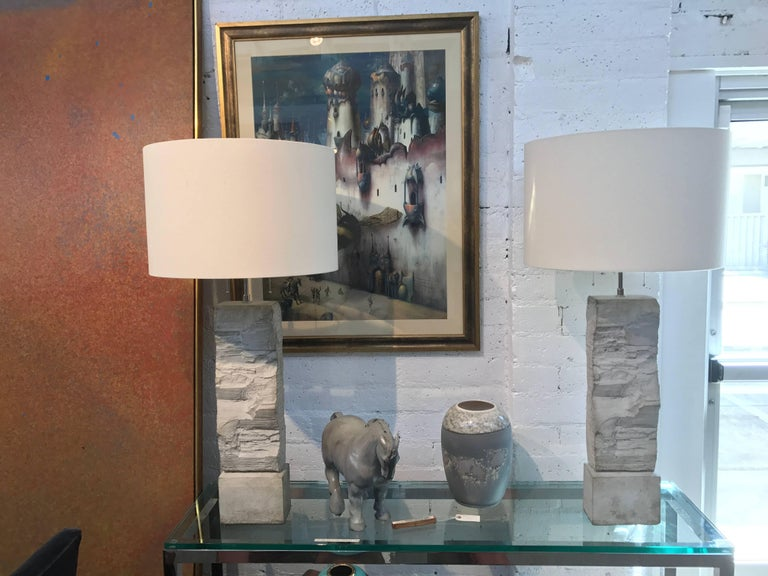 Pair of Fabulous Cast Stoneware Rock Shaped Lamps Marked Ap In Good Condition For Sale In Palm Springs, CA