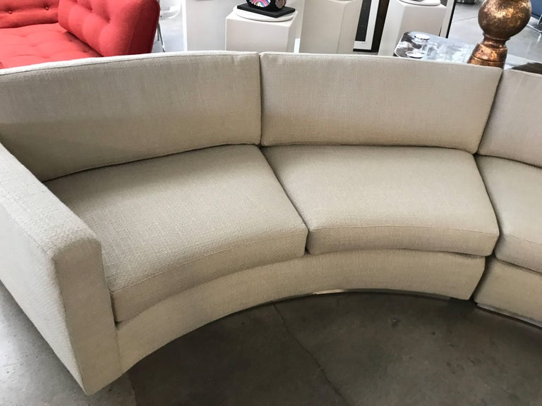 American Thayer Coggin Milo Baughman Curved Sofa and Ottoman with Brushed Steel Plinth For Sale