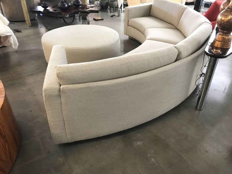 20th Century Thayer Coggin Milo Baughman Curved Sofa and Ottoman with Brushed Steel Plinth For Sale