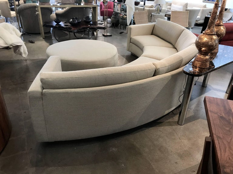 Thayer Coggin Milo Baughman Curved Sofa and Ottoman with Brushed Steel Plinth For Sale 4