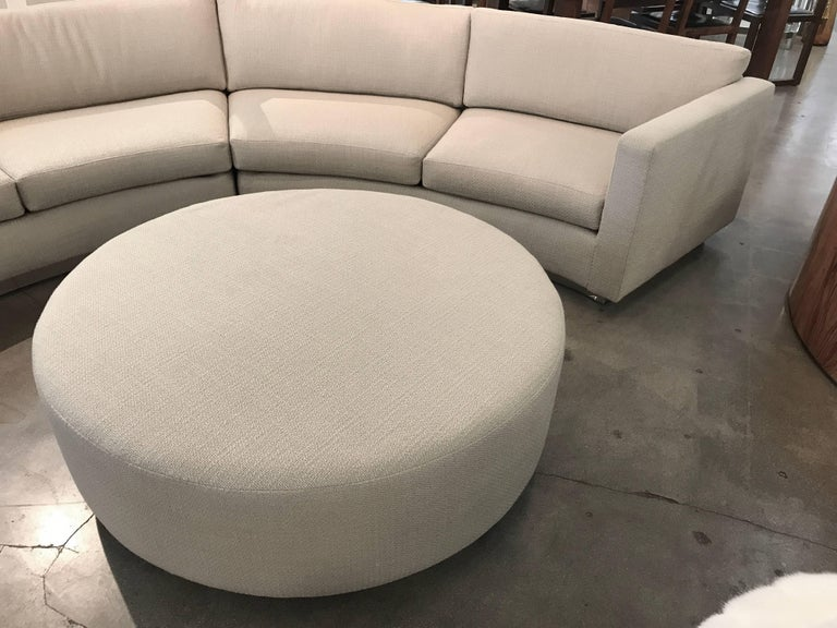 Thayer Coggin Milo Baughman Curved Sofa and Ottoman with Brushed Steel Plinth For Sale 5