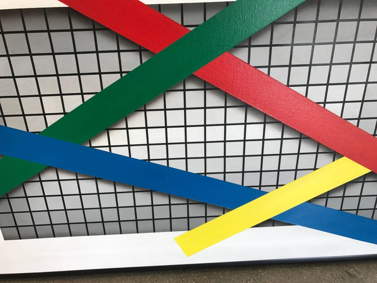 """Joseph Ramsauer Postmodern 1987 """"Primary Forms on Grid"""" Painting or Collage 4"""