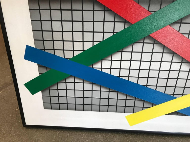 """Joseph Ramsauer Postmodern 1987 """"Primary Forms on Grid"""" Painting or Collage 5"""
