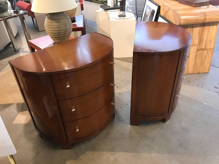 Pair of Labelled Demilune Nancy Corzine Nightstands or End Tables For Sale 1