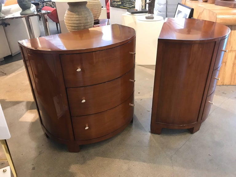 Pair of Labelled Demilune Nancy Corzine Nightstands or End Tables For Sale 2