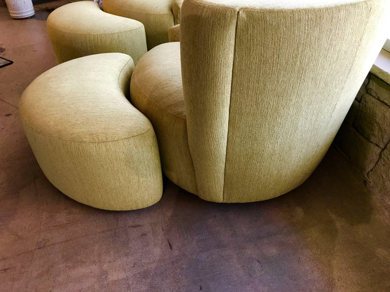 Pair of Vladimir Kagan Designed Nautilus Chairs with Matching Ottomans For Sale 1