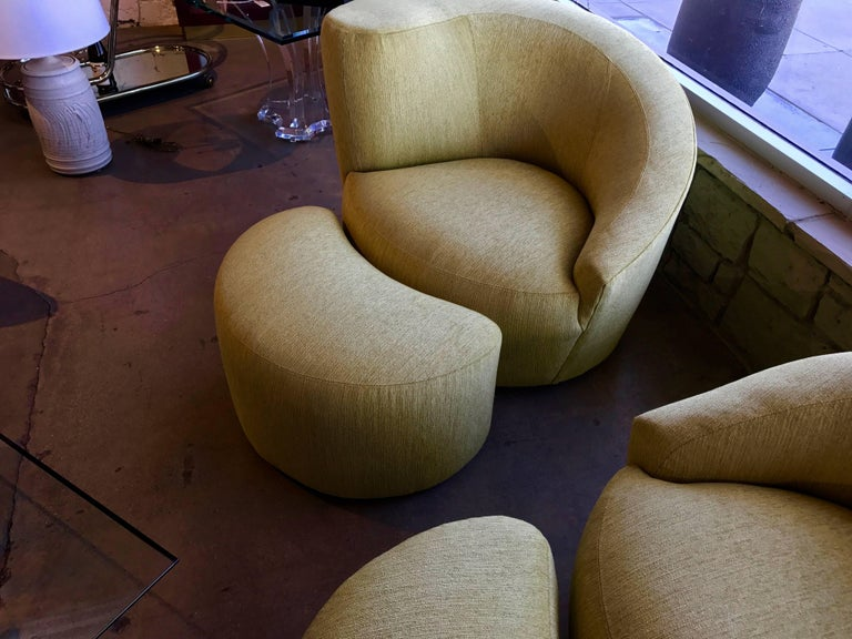 Pair of Vladimir Kagan Designed Nautilus Chairs with Matching Ottomans For Sale 3