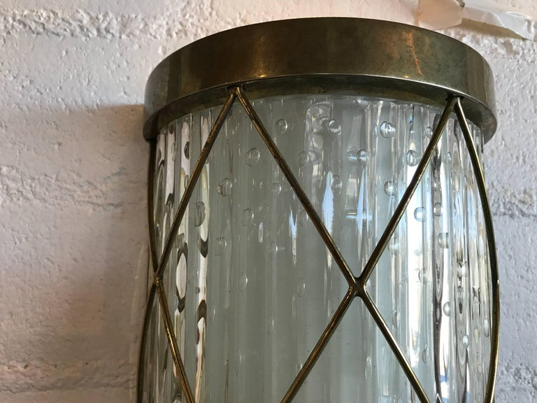 20th Century Beautiful Pair of Wall-Mounted Brass and Glass Sconces For Sale