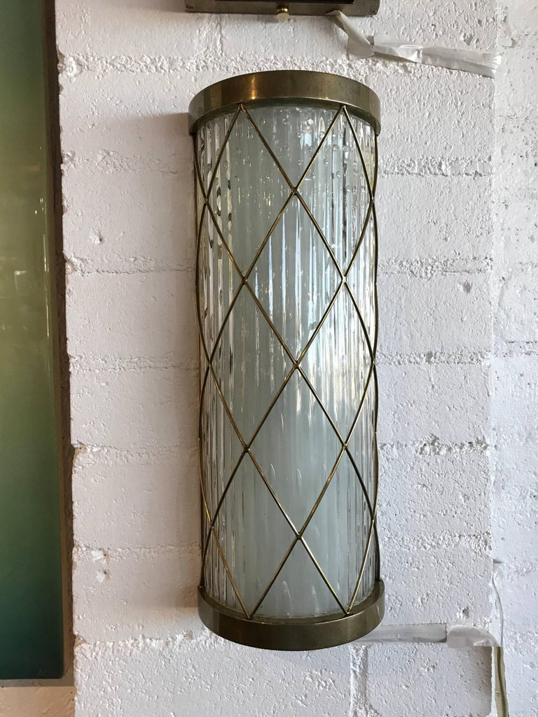 Beautiful Pair of Wall-Mounted Brass and Glass Sconces For Sale 2