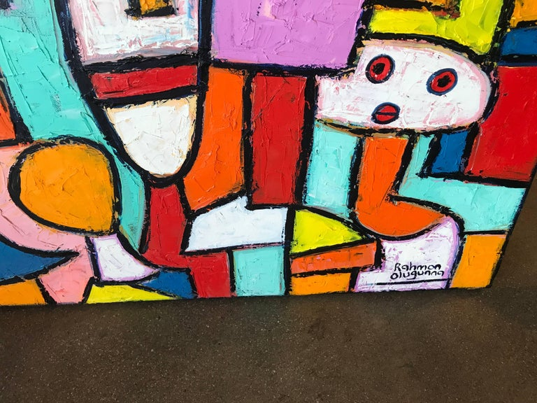 "Painting by Noted Nigerian Artist Rahmon Olugunna ""Village People"" 2"