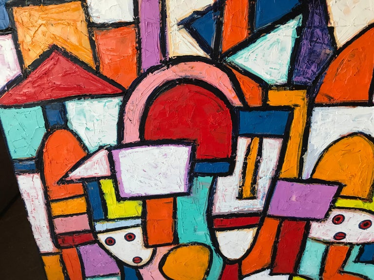 "Painting by Noted Nigerian Artist Rahmon Olugunna ""Village People"" 3"