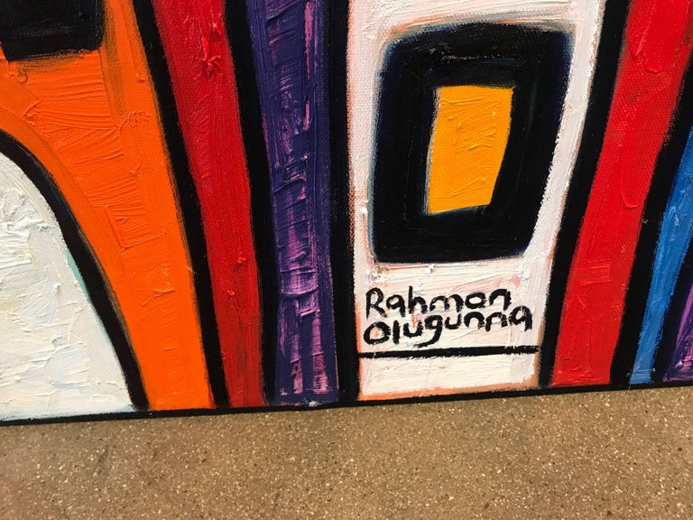 Rahmon Olugunna is a noted Nigerian artist. This painting is titled Village and is vibrant and colorful.