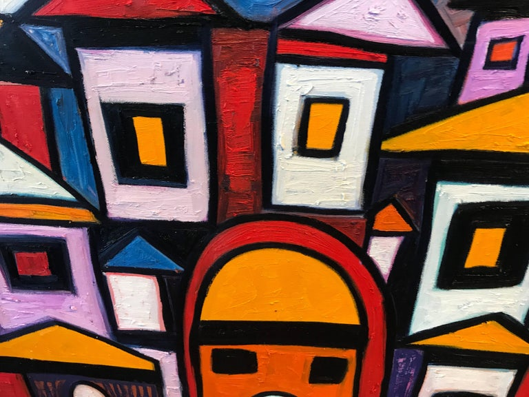 Vibrant Colorful Painting by Noted Nigerian Artist Rahmon Olugunna In Good Condition For Sale In Palm Springs, CA
