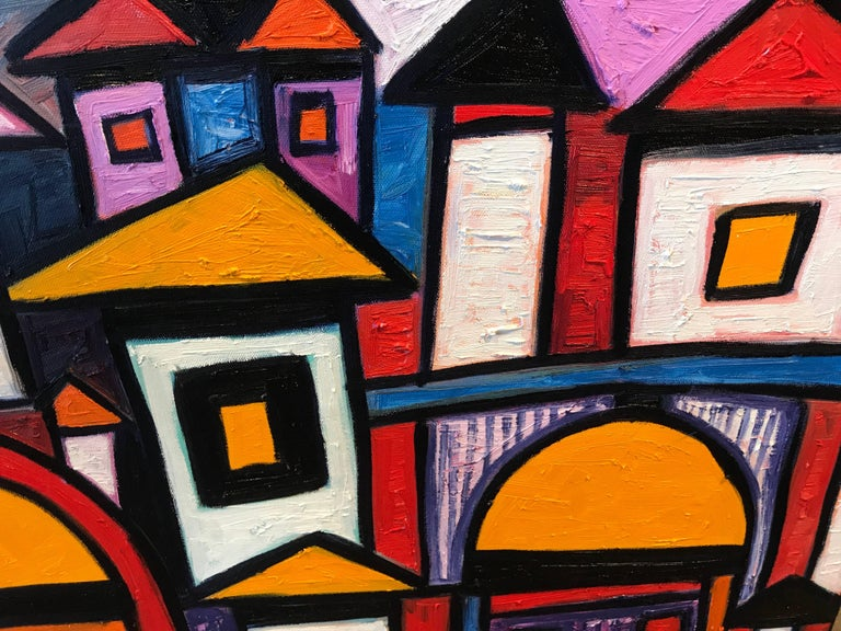 Contemporary Vibrant Colorful Painting by Noted Nigerian Artist Rahmon Olugunna For Sale