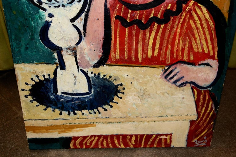 Unknown Older Interesting Painting Signed Illegibly in the Style of Matisse For Sale