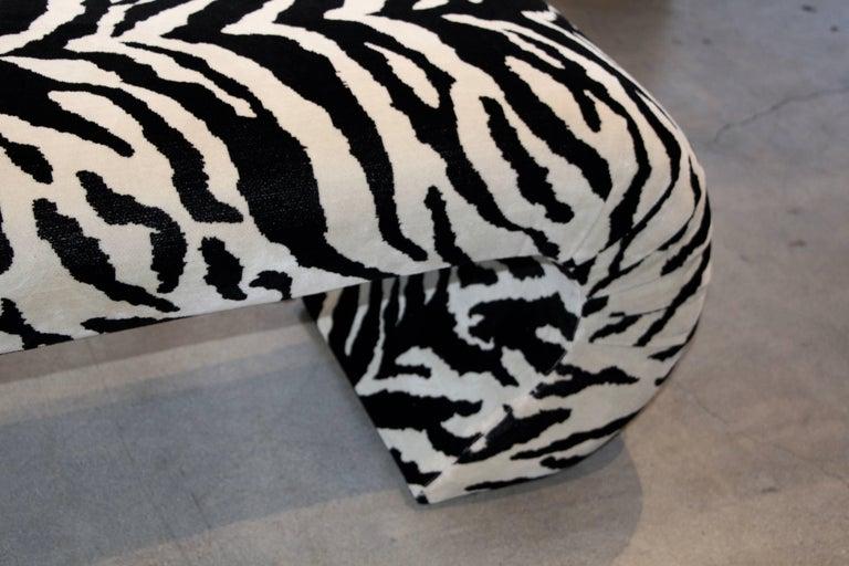 American Faux Zebra Bench from Barbara Marx Sinatra Estate For Sale