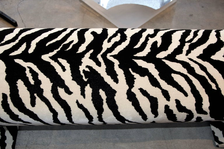 Faux Zebra Bench from Barbara Marx Sinatra Estate In Good Condition For Sale In Palm Springs, CA
