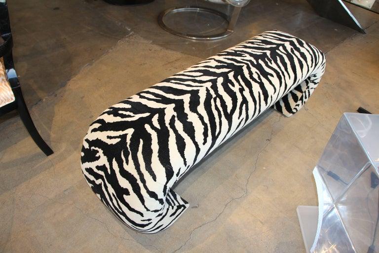 Faux Zebra Bench from Barbara Marx Sinatra Estate For Sale 1