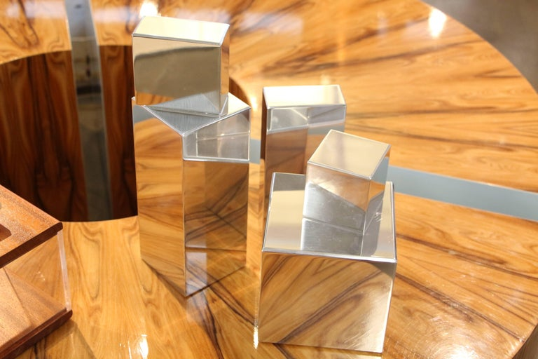 American Geometric Aluminum Sculpture by California Artist Casey Cross For Sale