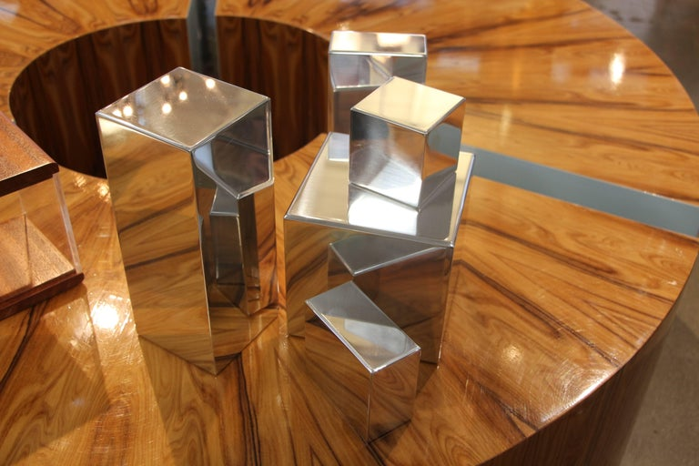 Hand-Crafted Geometric Aluminum Sculpture by California Artist Casey Cross For Sale