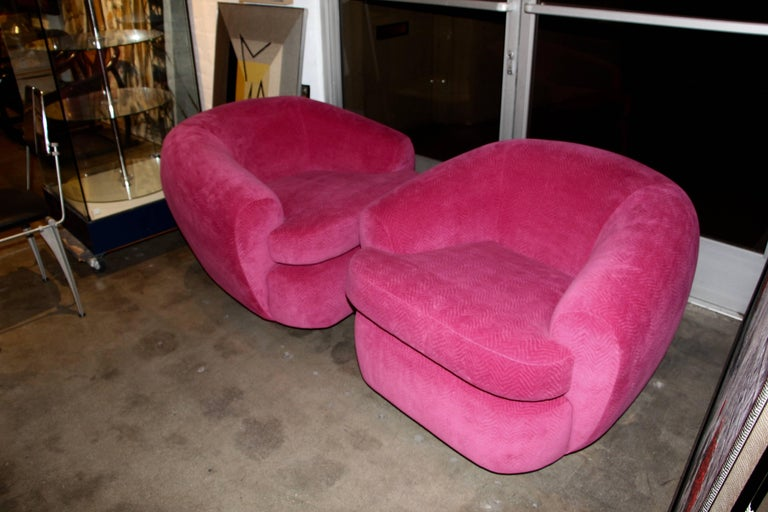 Pair of Club or Lounge Swivel Chairs in Hot Pink Wool Mohair at 1stdibs
