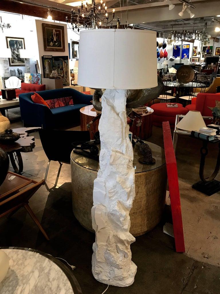 American Manner of Sirmos Plaster Rock Floor Lamp, Monogrammed For Sale
