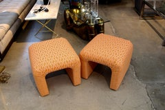 Pair of Orange Upholstered Ottomans or Stools