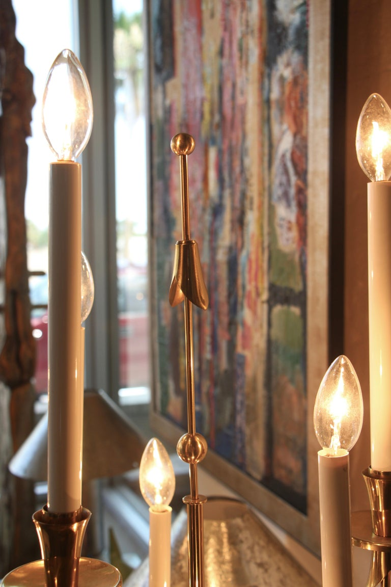 Stilnovo Brass Candelabra Floor Lamps with Marble Bases In Good Condition For Sale In Palm Springs, CA