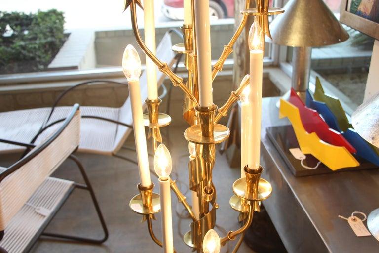 Stilnovo Brass Candelabra Floor Lamps with Marble Bases For Sale 1