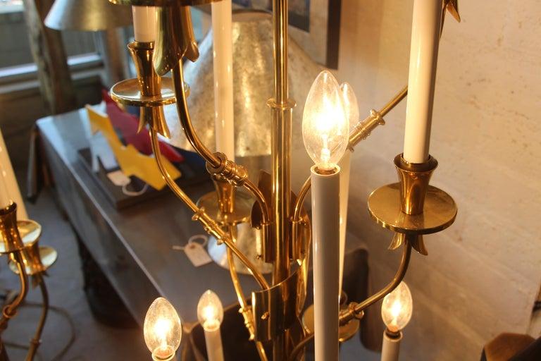 Stilnovo Brass Candelabra Floor Lamps with Marble Bases For Sale 2