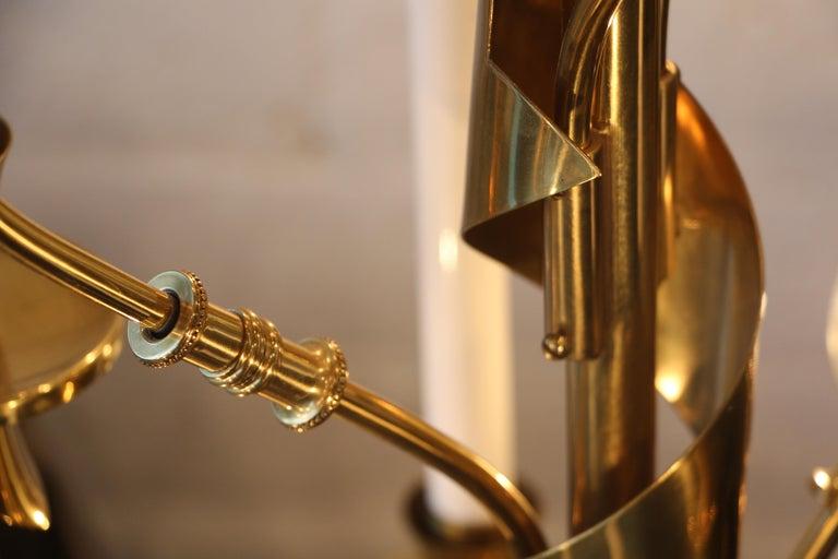 Stilnovo Brass Candelabra Floor Lamps with Marble Bases For Sale 4