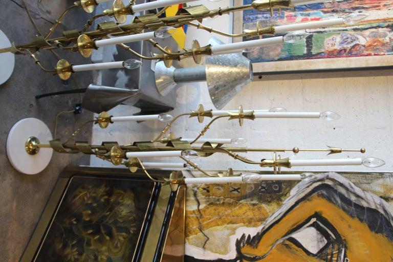 Stilnovo Brass Candelabra Floor Lamps with Marble Bases For Sale 5