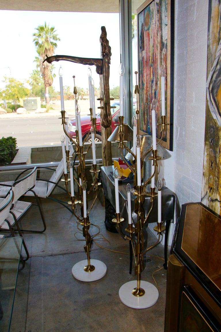 Stilnovo Brass Candelabra Floor Lamps with Marble Bases For Sale 6